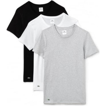 Essentials Collection 3 Pack Crew Neck T-Shirts - Black/Grey/White