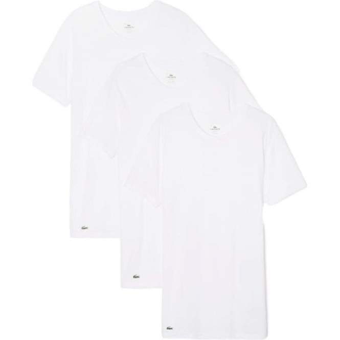 Lacoste Essentials Collection 3 Pack Crew Neck T-Shirts - White