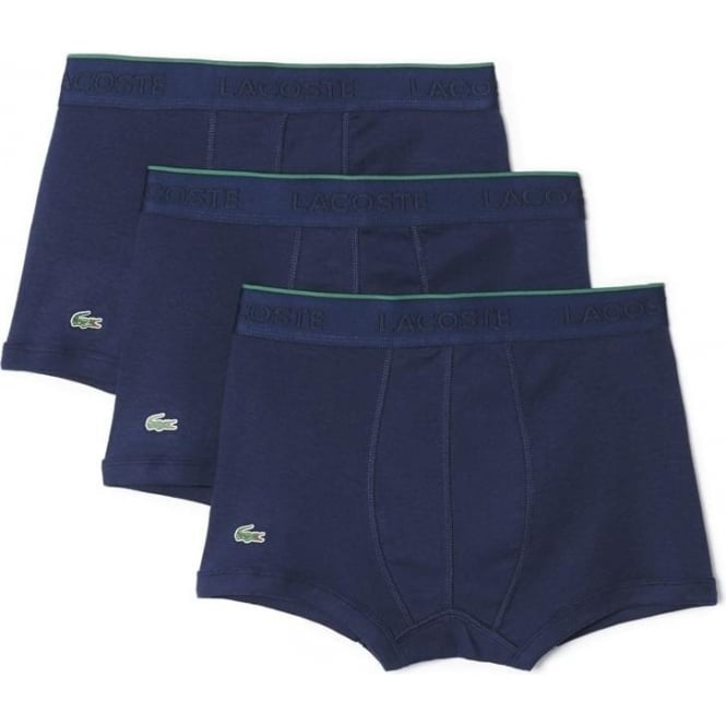 Lacoste Essentials Collection 3 Pack Supima Cotton Trunk - Navy