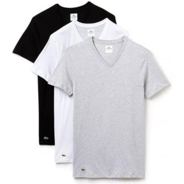 Essentials Collection 3 Pack V-Neck T-Shirts - Black/Grey/White