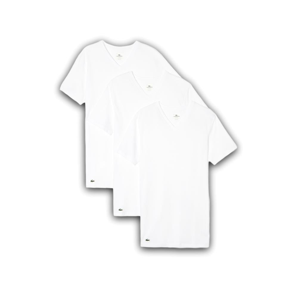 Lacoste Essentials Collection 3 Pack V-Neck T-Shirts - White ... c7733e01a6e1