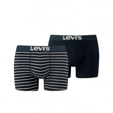 2 Pack 200sf Vintage Stripe Boxer Trunk - Mid Denim