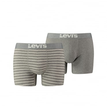 2 Pack 200sf Vintage Stripe Boxer Trunk - Middle Grey Melange