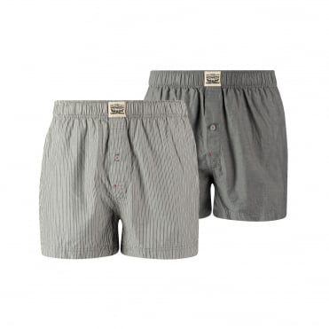 2 Pack 300ls Striped Chambray Woven Boxer Trunk - Anthracite Denim