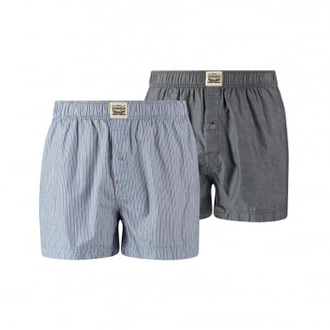 2 Pack 300ls Striped Chambray Woven Boxer Trunk - Blue Jeans
