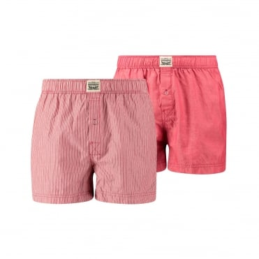 2 Pack 300ls Striped Chambray Woven Boxer Trunk - Red