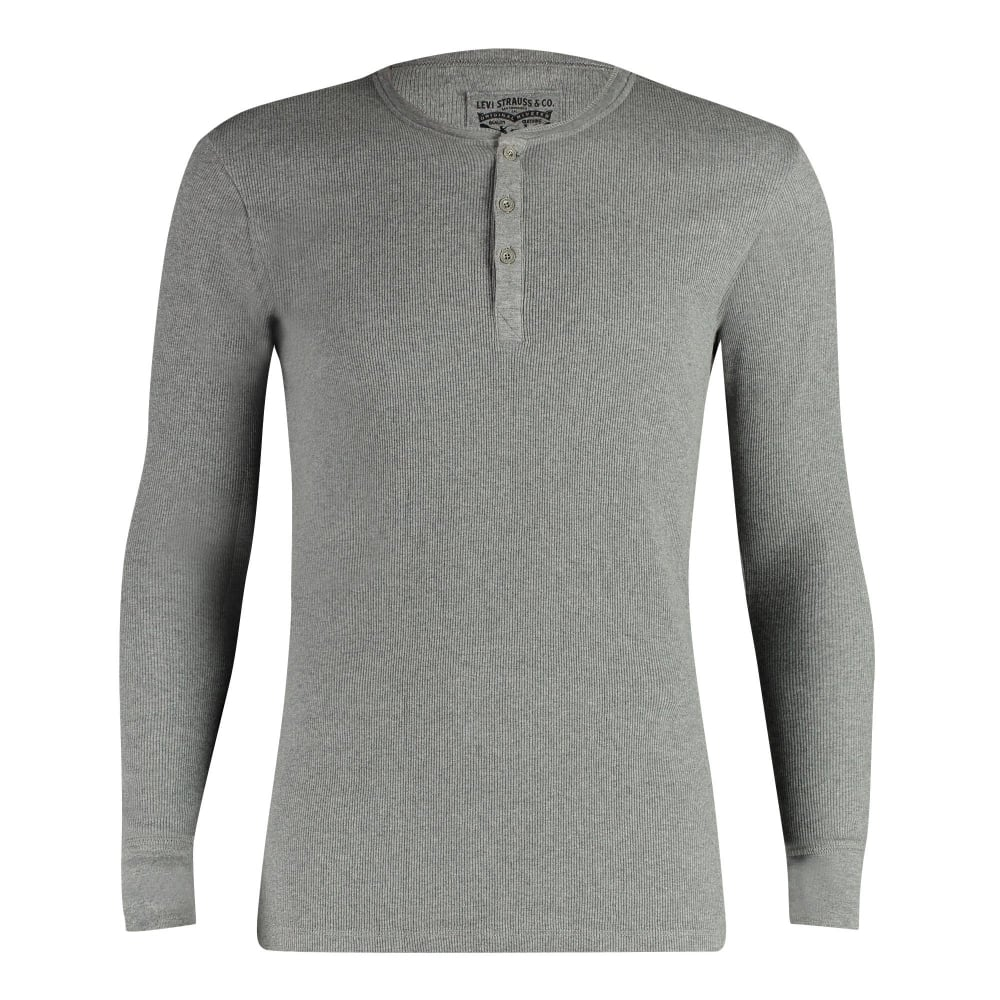 9910cc9fe6e Levi's 300ls Ribbed Cotton Long Sleeve Henley T Shirt - Middle Grey ...