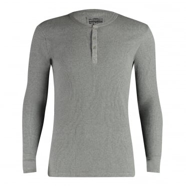 300ls Ribbed Cotton Long Sleeve Henley T Shirt - Middle Grey Melange
