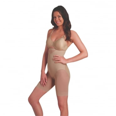 Sexy Sheer Shaping Hi-Waist Thigh Slimmer - Nude