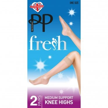 One Size Fresh 15 Denier 2 Pack Medium Support Knee Highs - Nude