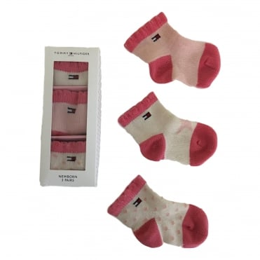 3 Pack Newborn Socks - Pink Lady