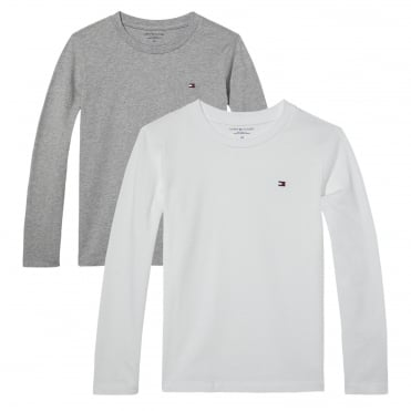 Boys 2 pack Crew Neck Long Sleeve icon - White/Grey Heather