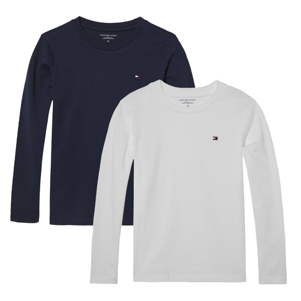 940bd051b7891 Tommy HilfigerBoys 2 pack Crew Neck Long Sleeve icon - White Navy ...