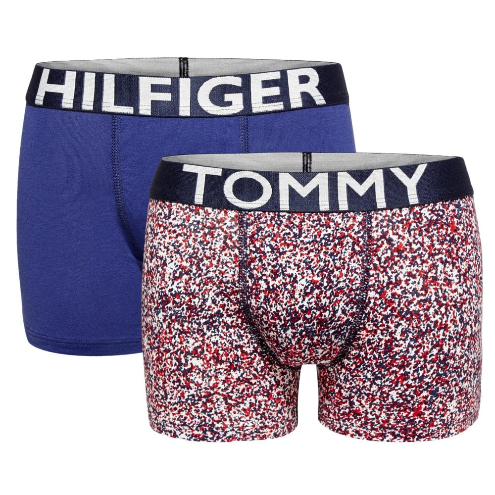 1f8eac8740 Tommy Hilfiger Boys 2 pack Hilfiger Splatter Trunks - White ...