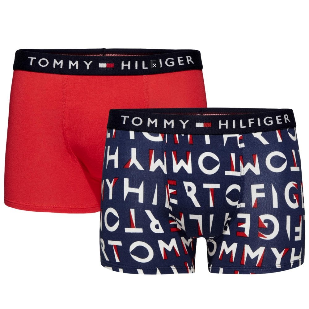 e5bd33fd34 Tommy Hilfiger Boys 2 pack Original Cotton Boxer Trunks - Navy ...