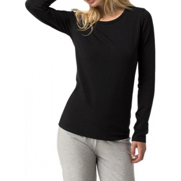 Cotton Iconic Long Sleeve T-Shirt - Black