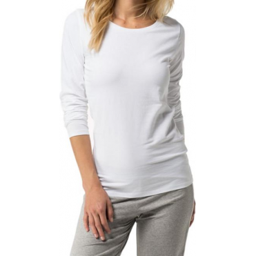 Cotton Iconic Long Sleeve T-Shirt - White