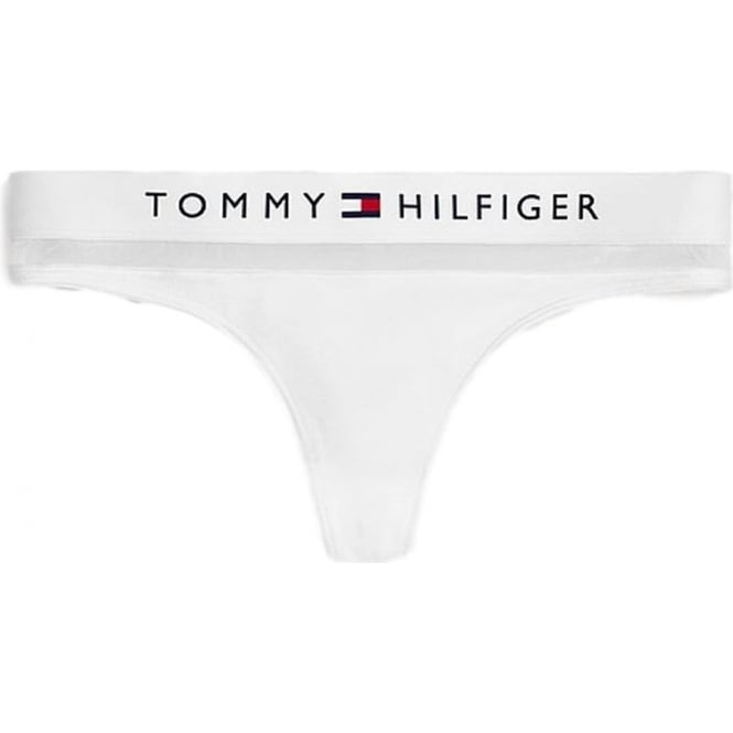 Tommy Hilfiger Cotton Mesh Thong - White