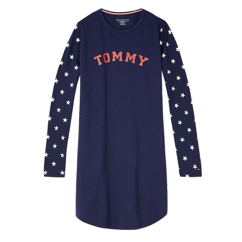 ffe43732 Tommy Hilfiger Girls Cotton Iconic Long Sleeve Dress - Navy ...