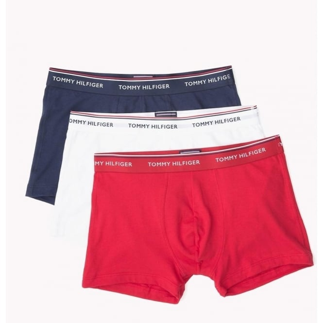 Tommy Hilfiger Premium Essential Stretch Trunk 3 Pack - Navy/White/Tango Red
