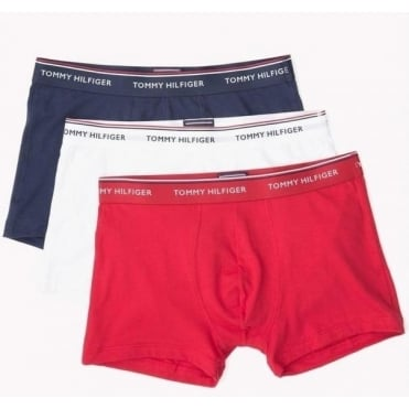 Premium Essential Stretch Trunk 3 Pack - Navy/White/Tango Red