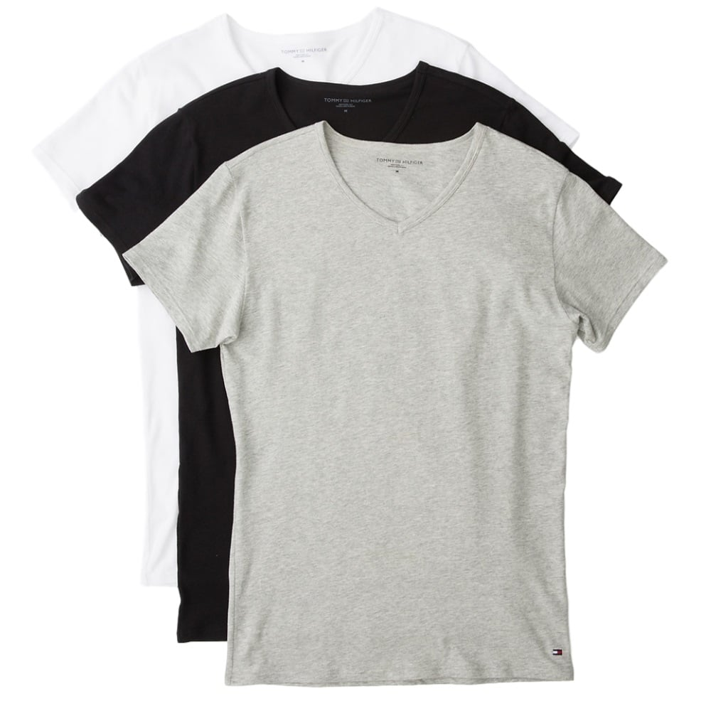 72553580 Tommy Hilfiger Premium Essential V Neck T-shirt 3 Pack - Black/White ...