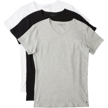 Premium Essential V Neck T-shirt 3 Pack - Black/White/Grey