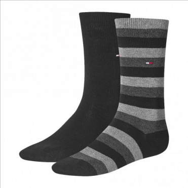 Regency Striped Socks 2-Pack Tommy Mid Grey/Black
