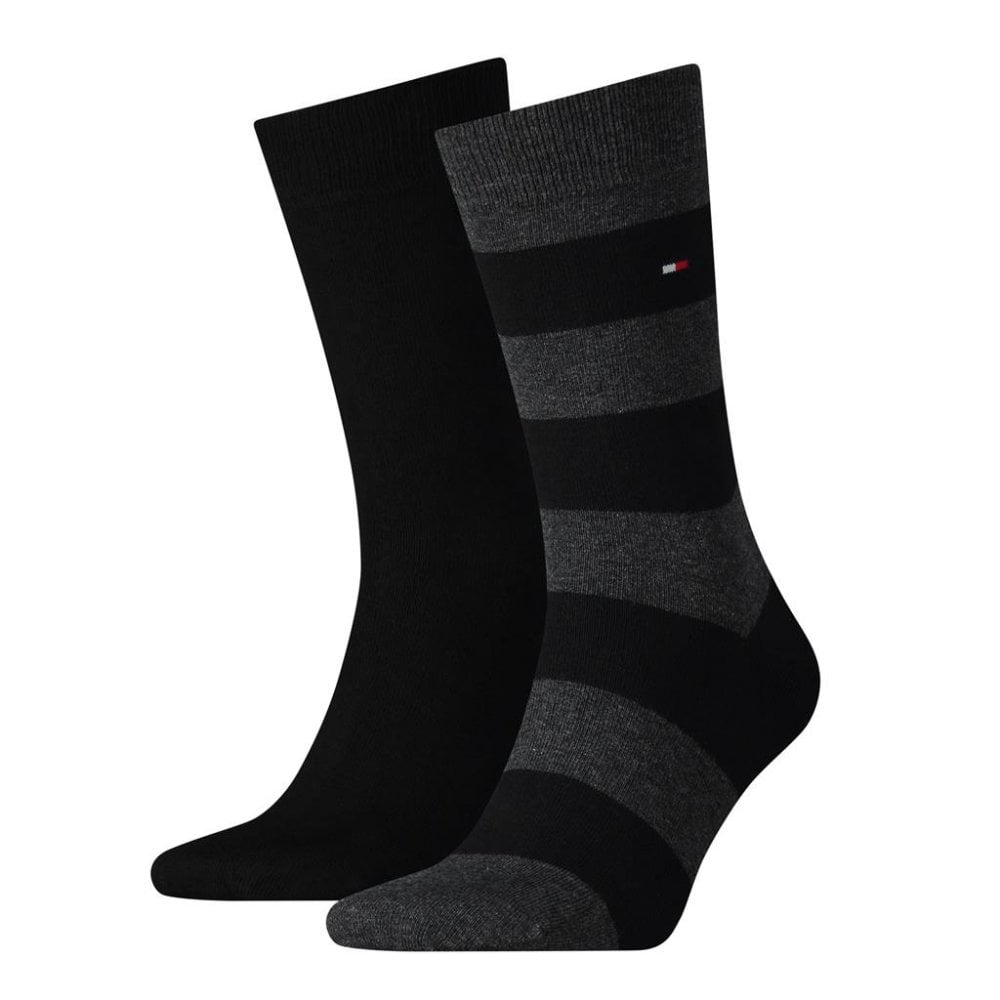 Tommy Hilfiger Rugby Striped Socks 2-Pack Black  b639c2e1485