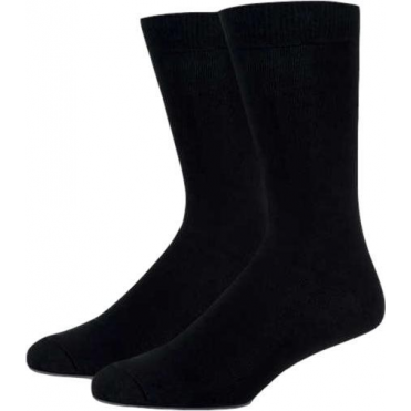 2 Pack Flat Knit Cotton Rich Socks - Black