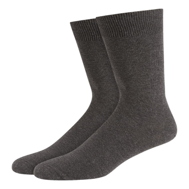 2 Pack Flat Knit Cotton Rich Socks - Charcoal