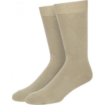 2 Pack Flat Knit Cotton Rich Socks - Stone