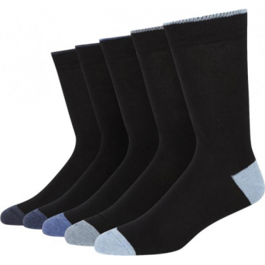 5 Pack Cotton Rich Socks With Contrast Heel And Toe - Black/Blues