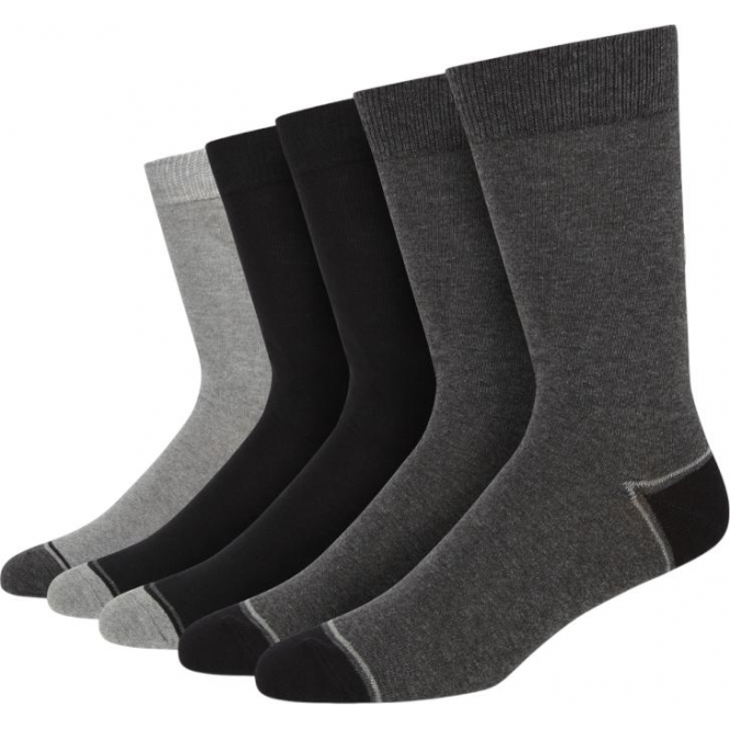 Wolsey 5 Pack Tonal Heel And Toe Cotton Rich Socks - Black/Grey Mix