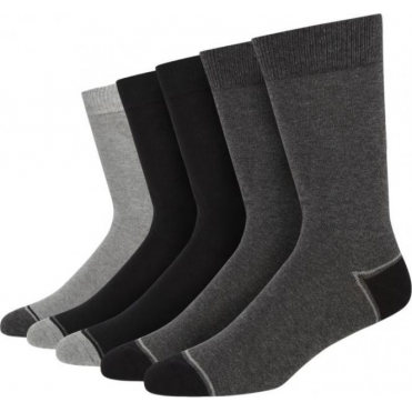 5 Pack Tonal Heel And Toe Cotton Rich Socks - Black/Grey Mix