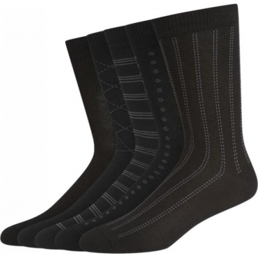 5 Pack Tonal Pattern Cotton Rich Socks - Black