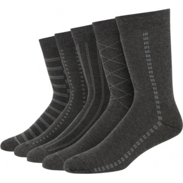 5 Pack Tonal Pattern Cotton Rich Socks - Grey