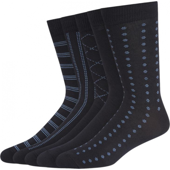 Wolsey 5 Pack Tonal Pattern Cotton Rich Socks - Navy