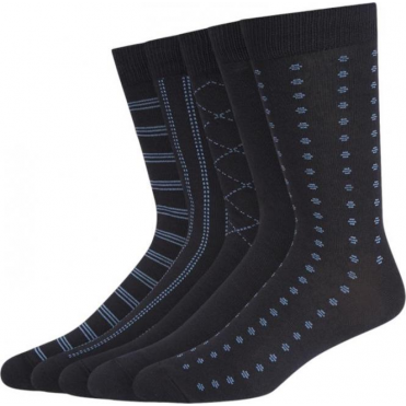 5 Pack Tonal Pattern Cotton Rich Socks - Navy